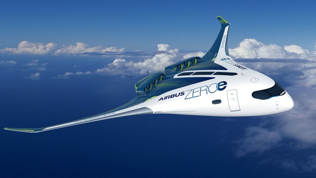 Not even the distant future. Airbus hopes we'll be soaring into the skies on one of its radical new designs in just 15 years, leaving the days of jet engine pollution and flight-shaming far behind us. The blended wing aircraft is one of a trinity of eco-friendly hydrogen-fueled models unveiled recently by Airbus as part of its ambitions to spearhead the decarbonization of the aviation industry.